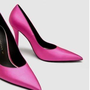 Zara court pointy fuchsia sparkly pumps heels